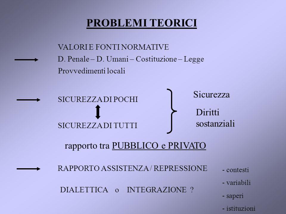 PROBLEMI TEORICI VALORI E FONTI NORMATIVE D. Penale – D.