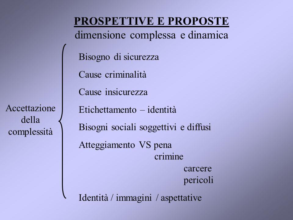 PROSPETTIVE E PROPOSTE dimensione complessa e dinamica Costruzione del CENTRO PER LA SICUREZZA Sviluppo analisi RICERCHE VALUTAZIONE PROGETTI FORMAZIONE OPERATORI E AGENTI INFORMAZIONI SU PROGETTI E INTERVENTI PROGRAMMAZIONE RISORSE PROMOZIONE PARTECIPAZIONE SENSIBILIZZAZIONE OP.