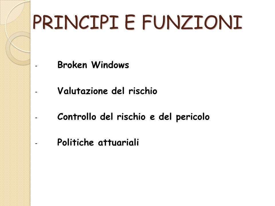 PRINCIPI E FUNZIONI - Broken Windows - Valutazione del rischio - Controllo del rischio e del pericolo - Politiche attuariali