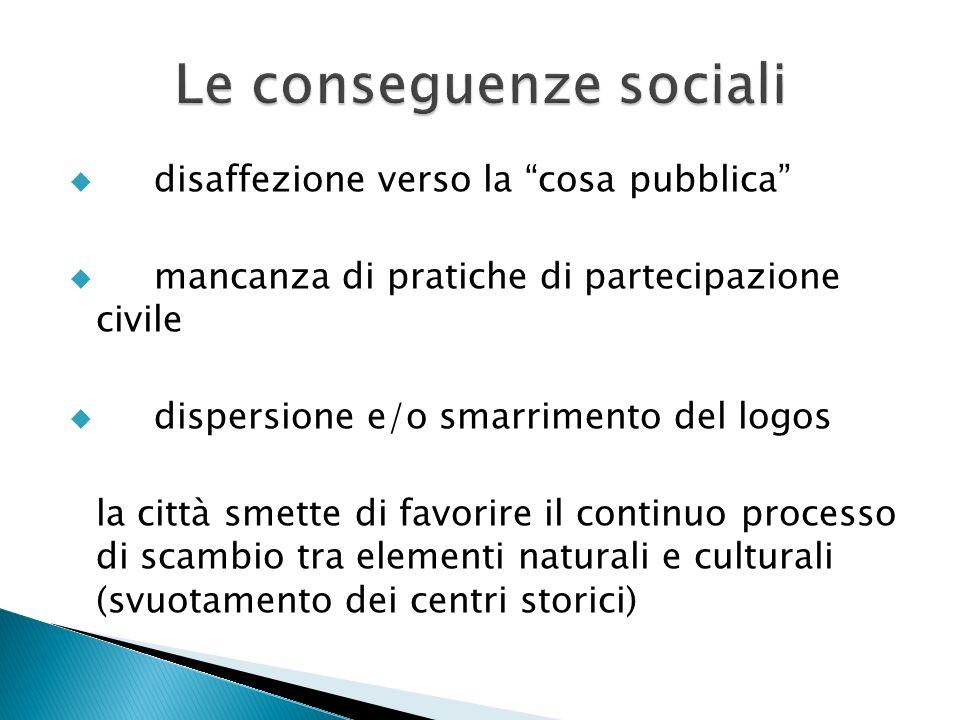 disaffezione verso la cosa pubblica mancanza di pratiche di partecipazione civile dispersione e/o smarrimento del logos la città smette di favorire il