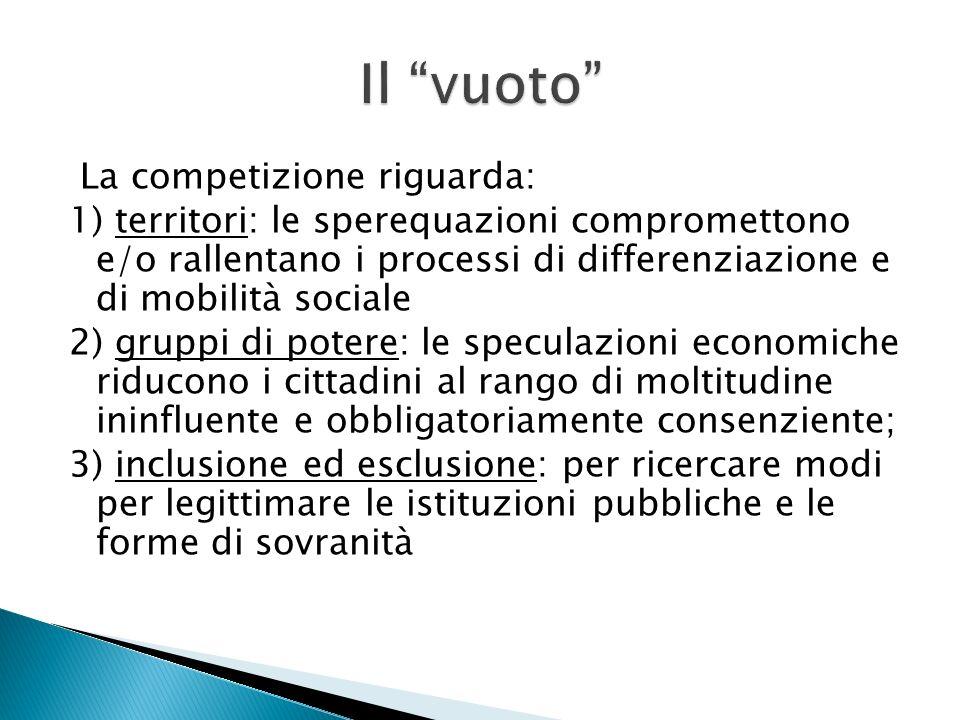 La competizione riguarda: 1) territori: le sperequazioni compromettono e/o rallentano i processi di differenziazione e di mobilità sociale 2) gruppi d