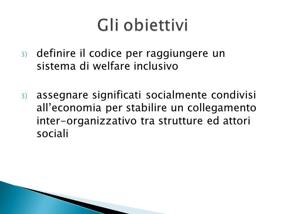 3) definire il codice per raggiungere un sistema di welfare inclusivo 3) assegnare significati socialmente condivisi alleconomia per stabilire un coll
