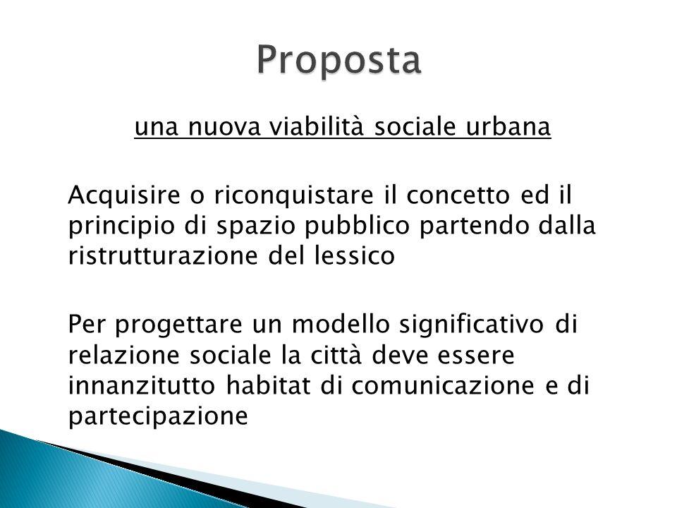 una nuova viabilità sociale urbana Acquisire o riconquistare il concetto ed il principio di spazio pubblico partendo dalla ristrutturazione del lessic