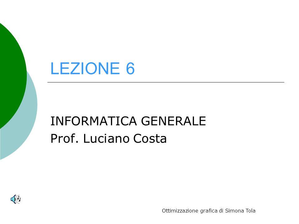LEZIONE 6 INFORMATICA GENERALE Prof. Luciano Costa Ottimizzazione grafica di Simona Tola