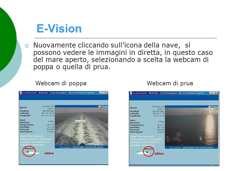 E-Vision Nuovamente cliccando sullicona della nave, si possono vedere le immagini in diretta, in questo caso del mare aperto, selezionando a scelta la