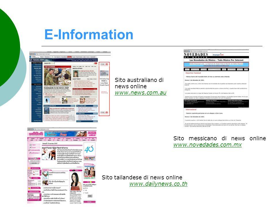 E-Information Sito tailandese di news online www.dailynews.co.th www.dailynews.co.th Sito messicano di news online www.novedades.com.mx www.novedades.