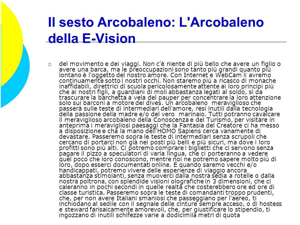 Il settimo Arcobaleno: le E-Operation: Riservato a chi abbia qualche euretto in più, ci potrà consentire di cimentarci in operazioni di Borsa, o in attività improbabilmente lucrative messe a disposizione on line.