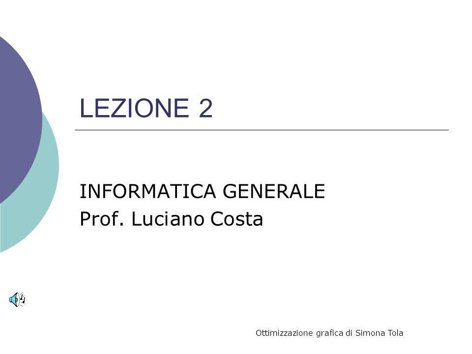 LEZIONE 2 INFORMATICA GENERALE Prof. Luciano Costa Ottimizzazione grafica di Simona Tola