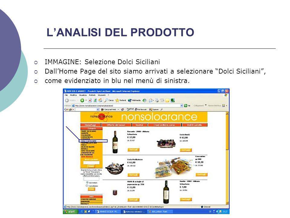 LANALISI DEL PRODOTTO IMMAGINE: Selezione Dolci Siciliani DallHome Page del sito siamo arrivati a selezionare Dolci Siciliani, come evidenziato in blu nel menù di sinistra.
