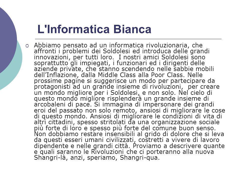 L Informatica Bianca Abbiamo pensato ad un informatica rivoluzionaria, che affronti i problemi dei Soldolesi ed introduca delle grandi innovazioni, per tutti loro.
