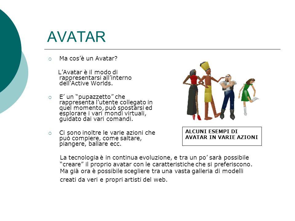AVATAR Ma cosè un Avatar.LAvatar è il modo di rappresentarsi allinterno dellActive Worlds.