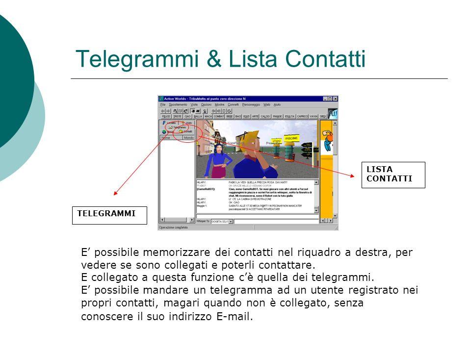 Telegrammi & Lista Contatti TELEGRAMMI LISTA CONTATTI E possibile memorizzare dei contatti nel riquadro a destra, per vedere se sono collegati e poterli contattare.