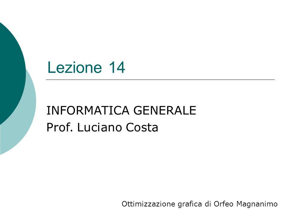 Lezione 14 Ottimizzazione grafica di Orfeo Magnanimo INFORMATICA GENERALE Prof. Luciano Costa