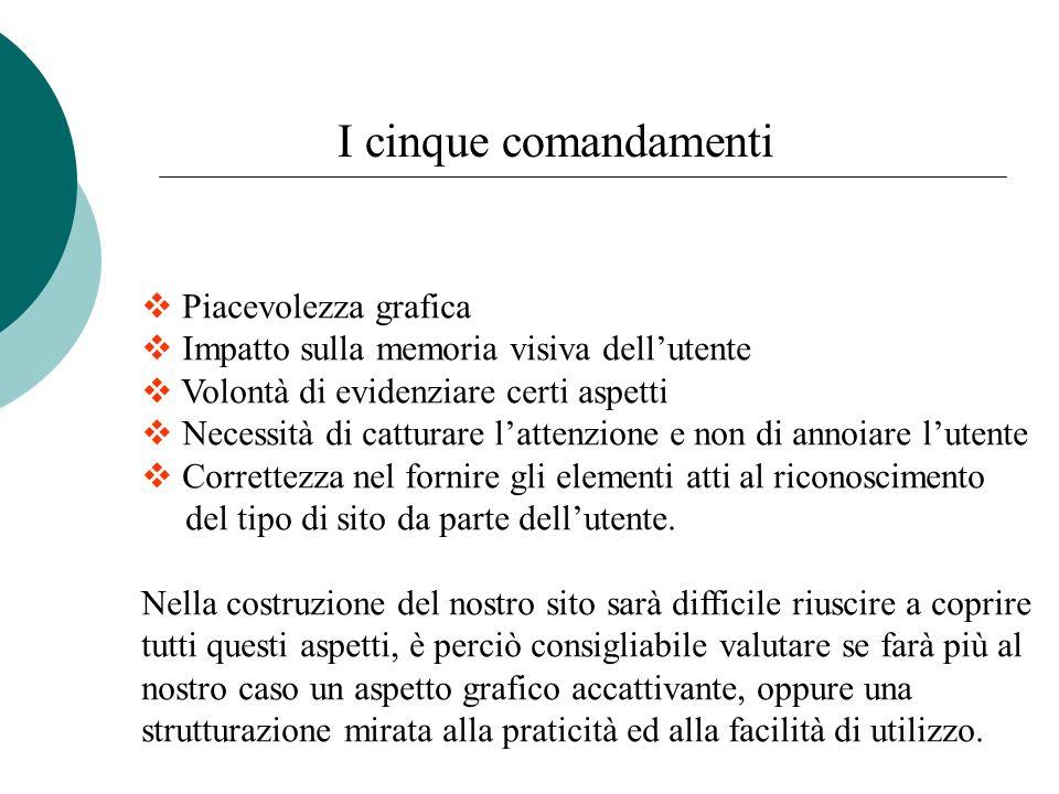 I cinque comandamenti Piacevolezza grafica Impatto sulla memoria visiva dellutente Volontà di evidenziare certi aspetti Necessità di catturare lattenz