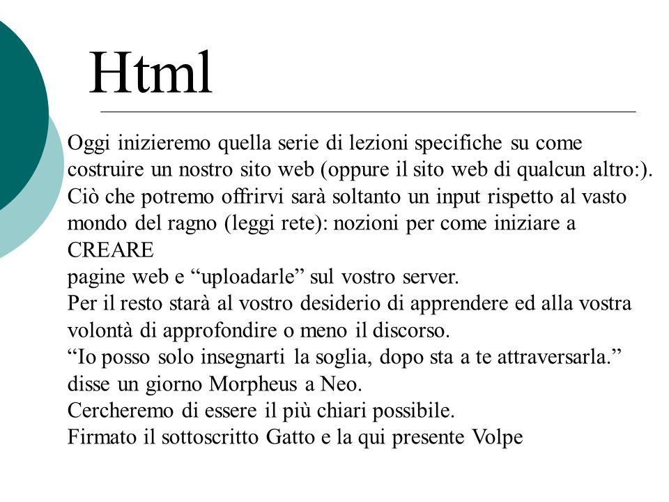 Html Oggi inizieremo quella serie di lezioni specifiche su come costruire un nostro sito web (oppure il sito web di qualcun altro:).