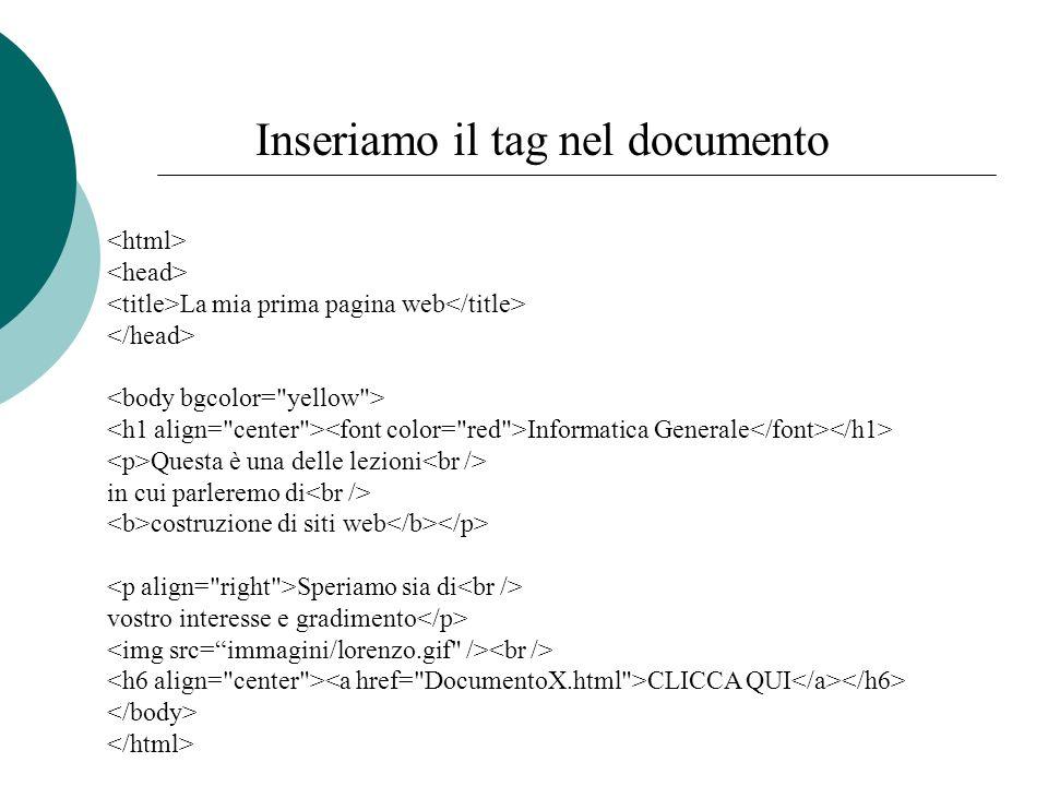 Inseriamo il tag nel documento La mia prima pagina web Informatica Generale Questa è una delle lezioni in cui parleremo di costruzione di siti web Spe