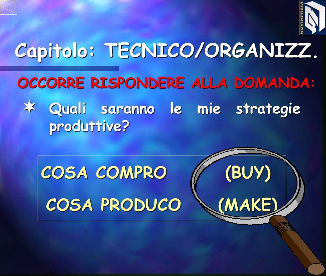 OBIETTIVO: - DIMENSIONARE I MEZZI - PROPORZIONARE LE RISORSE Capitolo: TECNICO/ORGANIZZ.
