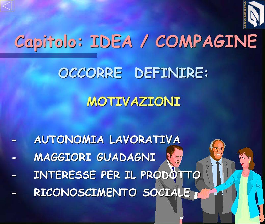 MOTIVAZIONI Capitolo: IDEA / COMPAGINE -AUTONOMIA LAVORATIVA -MAGGIORI GUADAGNI -INTERESSE PER IL PRODOTTO -RICONOSCIMENTO SOCIALE