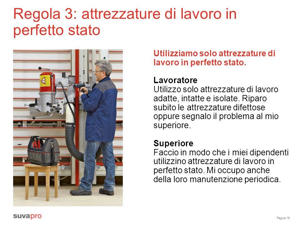 Pagina 16 Regola 3: attrezzature di lavoro in perfetto stato Utilizziamo solo attrezzature di lavoro in perfetto stato.