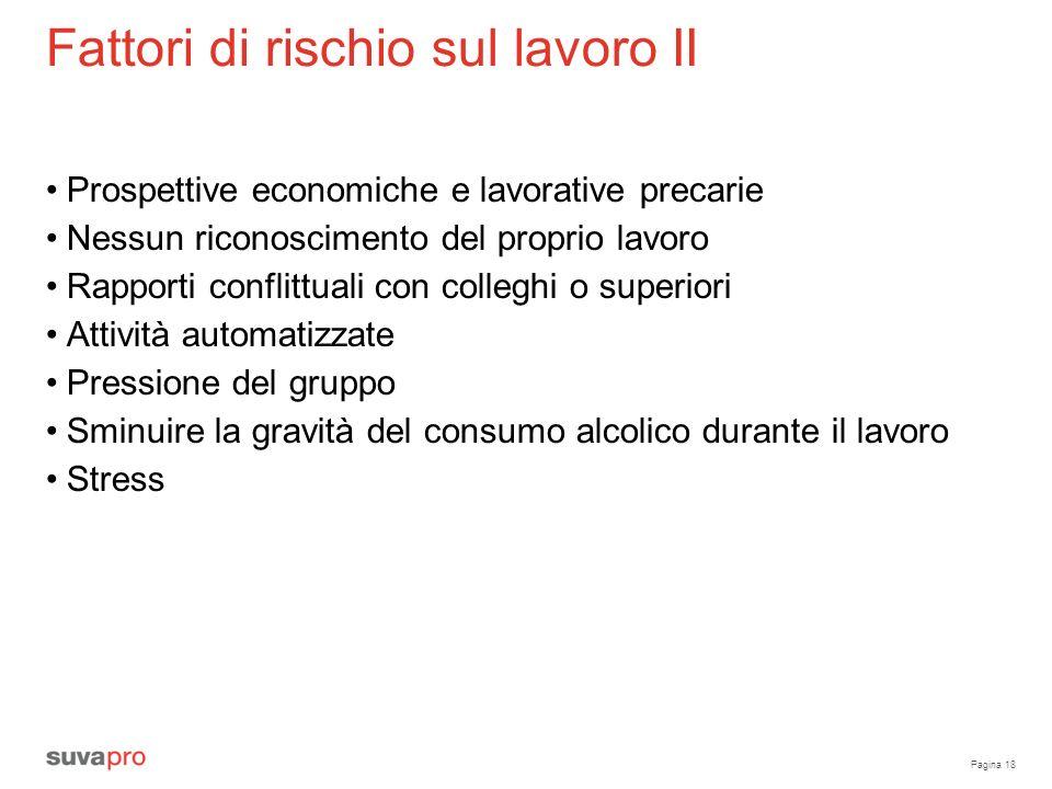 Pagina 18 Fattori di rischio sul lavoro II Prospettive economiche e lavorative precarie Nessun riconoscimento del proprio lavoro Rapporti conflittuali