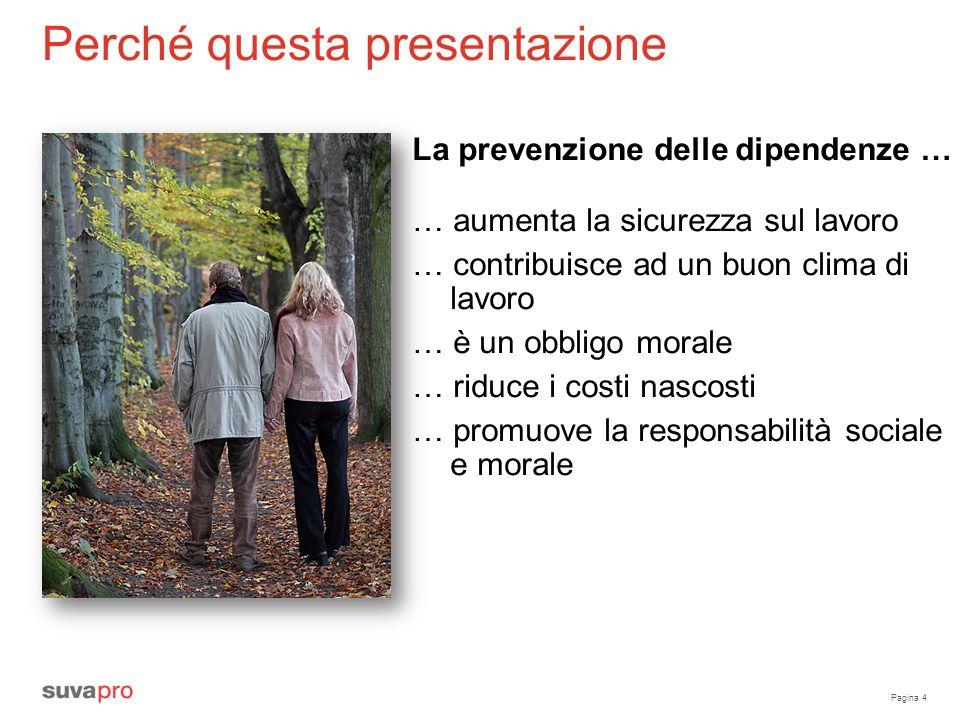Pagina 4 Perché questa presentazione La prevenzione delle dipendenze … … aumenta la sicurezza sul lavoro … contribuisce ad un buon clima di lavoro … è