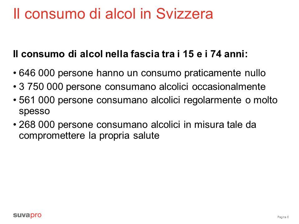 Pagina 6 Il consumo di alcol in Svizzera Il consumo di alcol nella fascia tra i 15 e i 74 anni: 646 000 persone hanno un consumo praticamente nullo 3