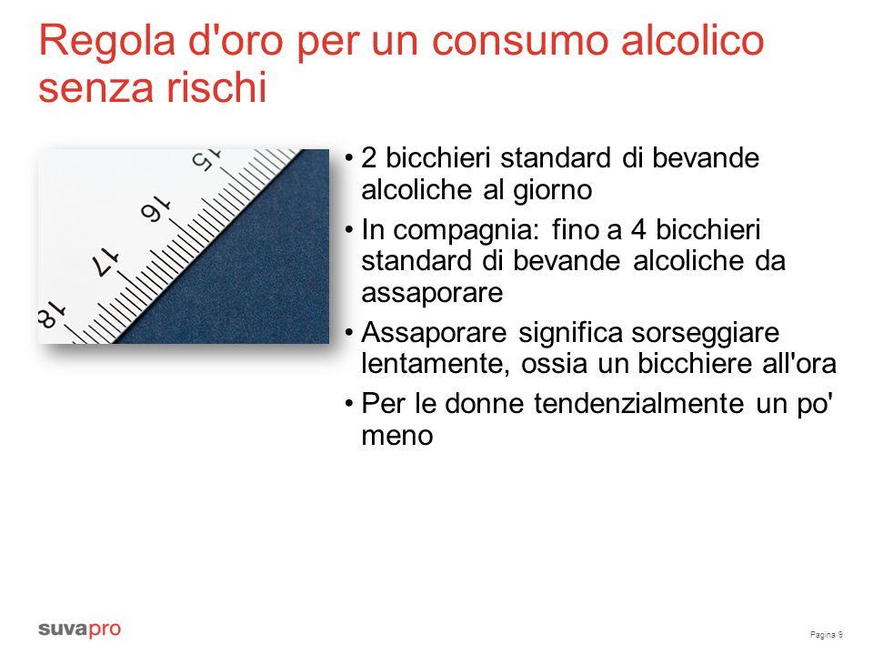 Pagina 9 Regola d'oro per un consumo alcolico senza rischi 2 bicchieri standard di bevande alcoliche al giorno In compagnia: fino a 4 bicchieri standa