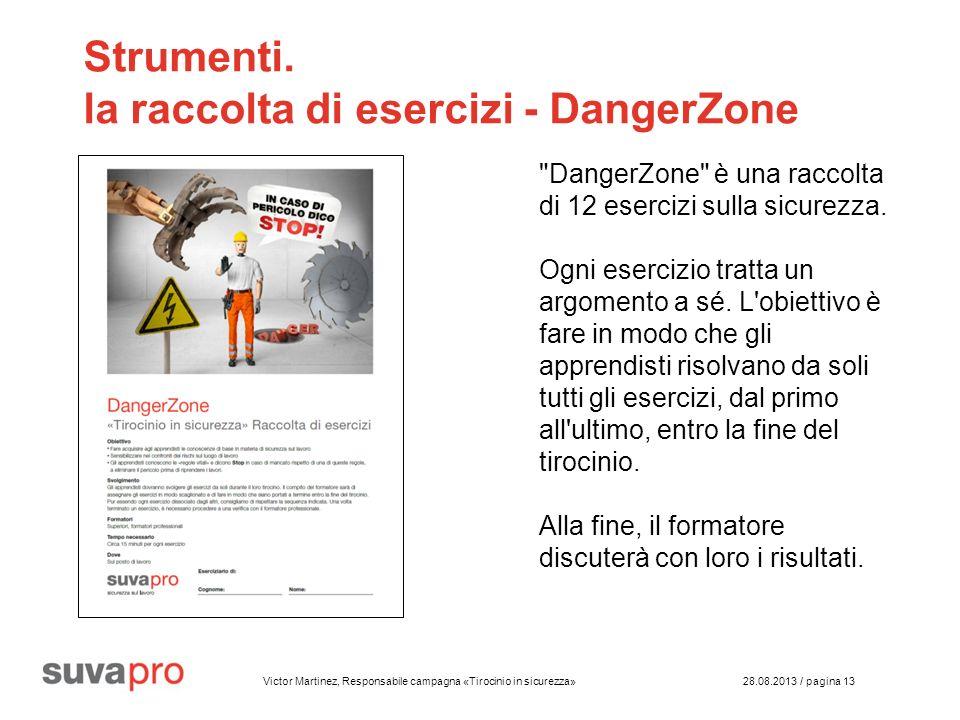 Victor Martinez, Responsabile campagna «Tirocinio in sicurezza» 28.08.2013 / pagina 13 Strumenti.