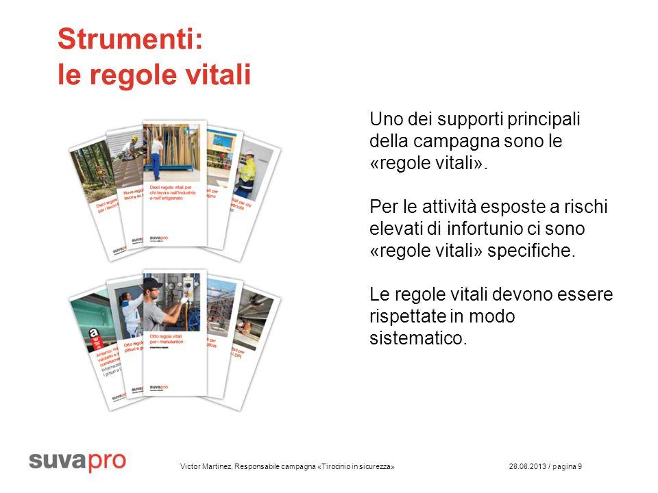 Victor Martinez, Responsabile campagna «Tirocinio in sicurezza» 28.08.2013 / pagina 9 Strumenti: le regole vitali Uno dei supporti principali della campagna sono le «regole vitali».