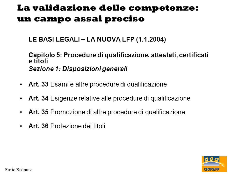 Furio Bednarz La validazione delle competenze: un campo assai preciso LE BASI LEGALI – LA NUOVA LFP (1.1.2004) Capitolo 5: Procedure di qualificazione