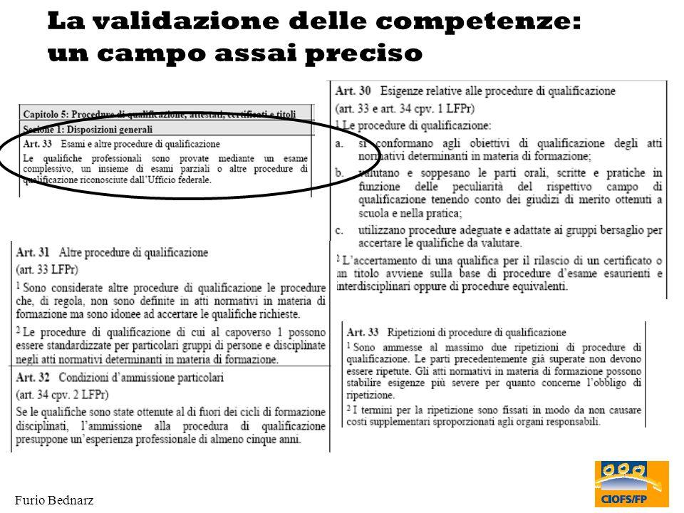 Furio Bednarz La validazione delle competenze: un campo assai preciso