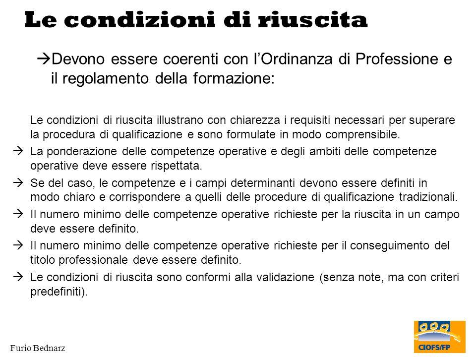 Furio Bednarz Le condizioni di riuscita Devono essere coerenti con lOrdinanza di Professione e il regolamento della formazione: Le condizioni di riusc