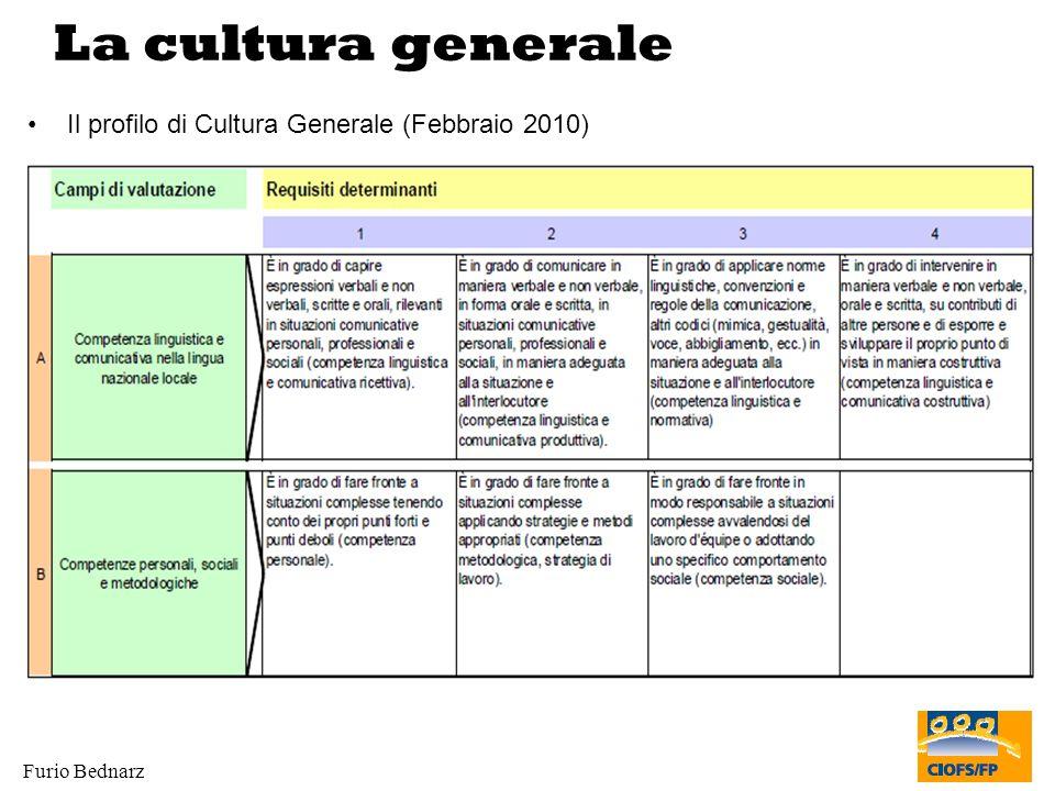 Furio Bednarz La cultura generale Il profilo di Cultura Generale (Febbraio 2010)