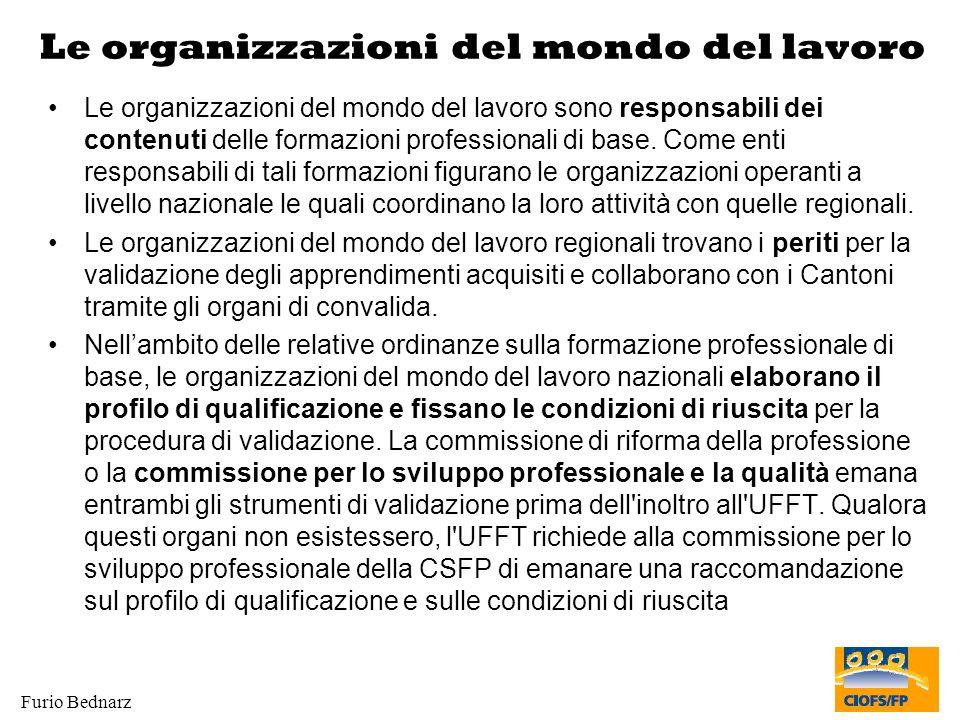 Furio Bednarz Le organizzazioni del mondo del lavoro Le organizzazioni del mondo del lavoro sono responsabili dei contenuti delle formazioni professio