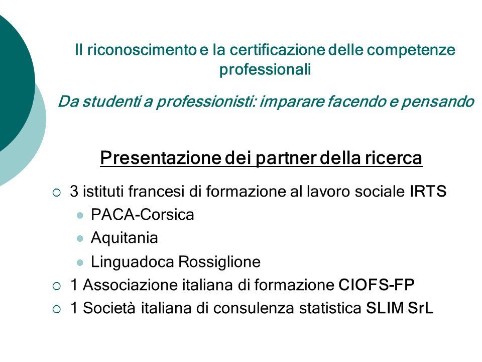 Il riconoscimento e la certificazione delle competenze professionali Da studenti a professionisti: imparare facendo e pensando Presentazione dei partn