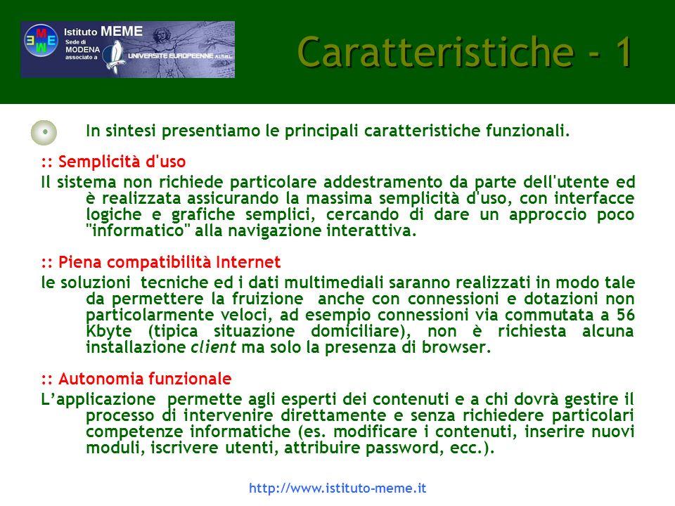 http://www.istituto-meme.it Il sistema LCMS -4 Sono previste nel sistema possibilità svariate di valutazione dellapprendimento degli utenti.