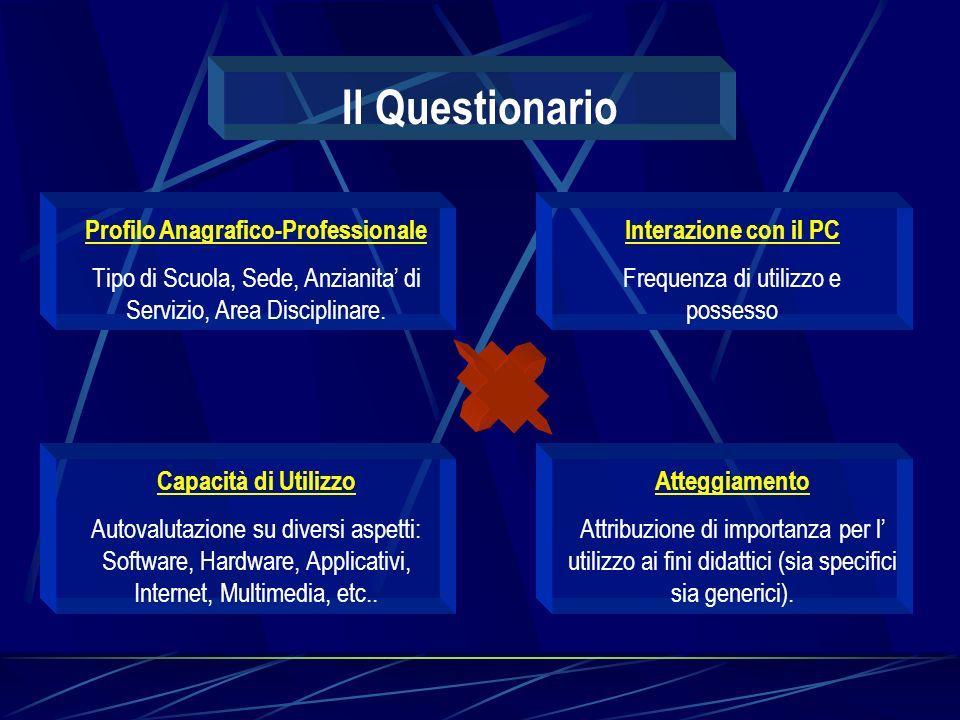 Il Questionario Profilo Anagrafico-Professionale Tipo di Scuola, Sede, Anzianita di Servizio, Area Disciplinare.