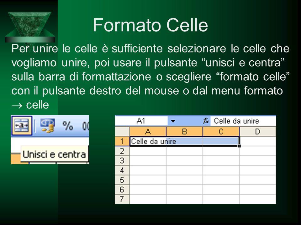 Formato Celle Per unire le celle è sufficiente selezionare le celle che vogliamo unire, poi usare il pulsante unisci e centra sulla barra di formattaz