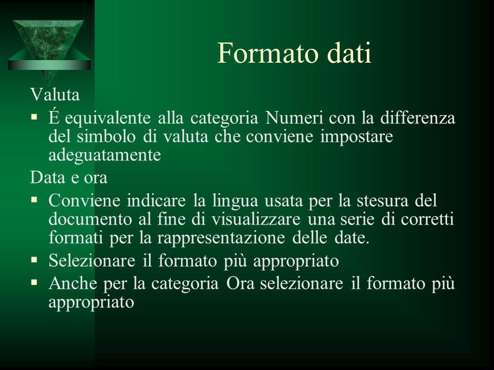 Formato dati Valuta É equivalente alla categoria Numeri con la differenza del simbolo di valuta che conviene impostare adeguatamente Data e ora Convie