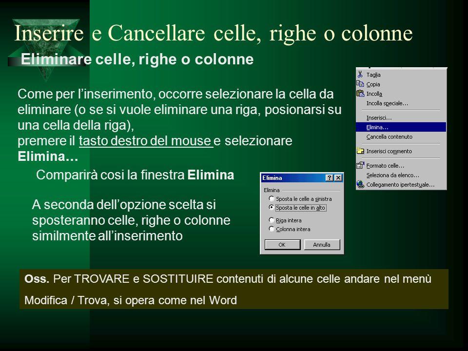Eliminare celle, righe o colonne Come per linserimento, occorre selezionare la cella da eliminare (o se si vuole eliminare una riga, posionarsi su una