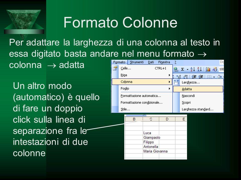 Formato Colonne Per adattare la larghezza di una colonna al testo in essa digitato basta andare nel menu formato colonna adatta Un altro modo (automat