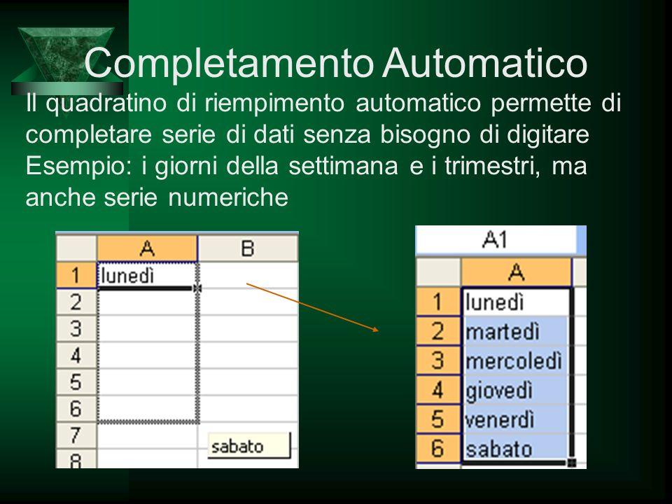 Completamento Automatico Il quadratino di riempimento automatico permette di completare serie di dati senza bisogno di digitare Esempio: i giorni dell