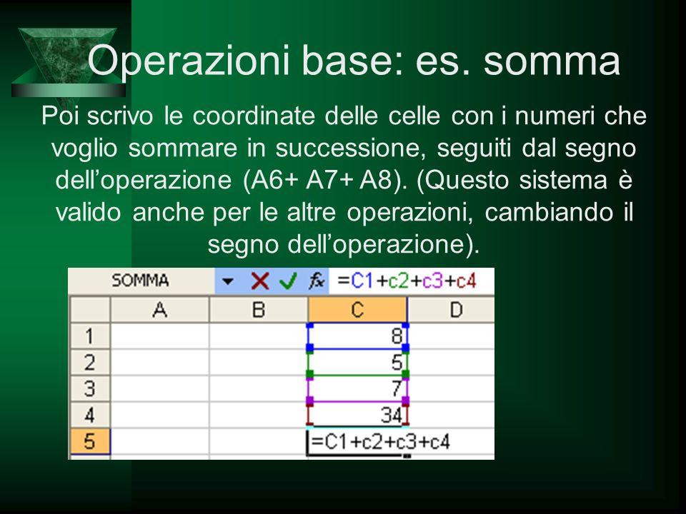 Poi scrivo le coordinate delle celle con i numeri che voglio sommare in successione, seguiti dal segno delloperazione (A6+ A7+ A8). (Questo sistema è