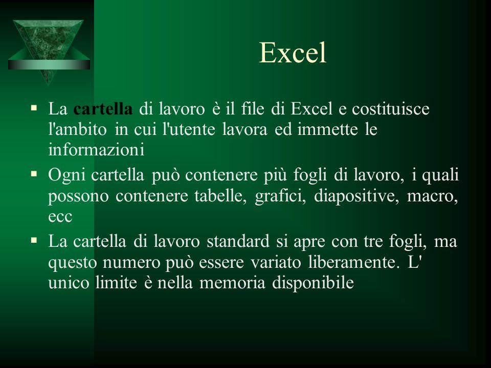 Excel La cartella di lavoro è il file di Excel e costituisce l'ambito in cui l'utente lavora ed immette le informazioni Ogni cartella può contenere pi