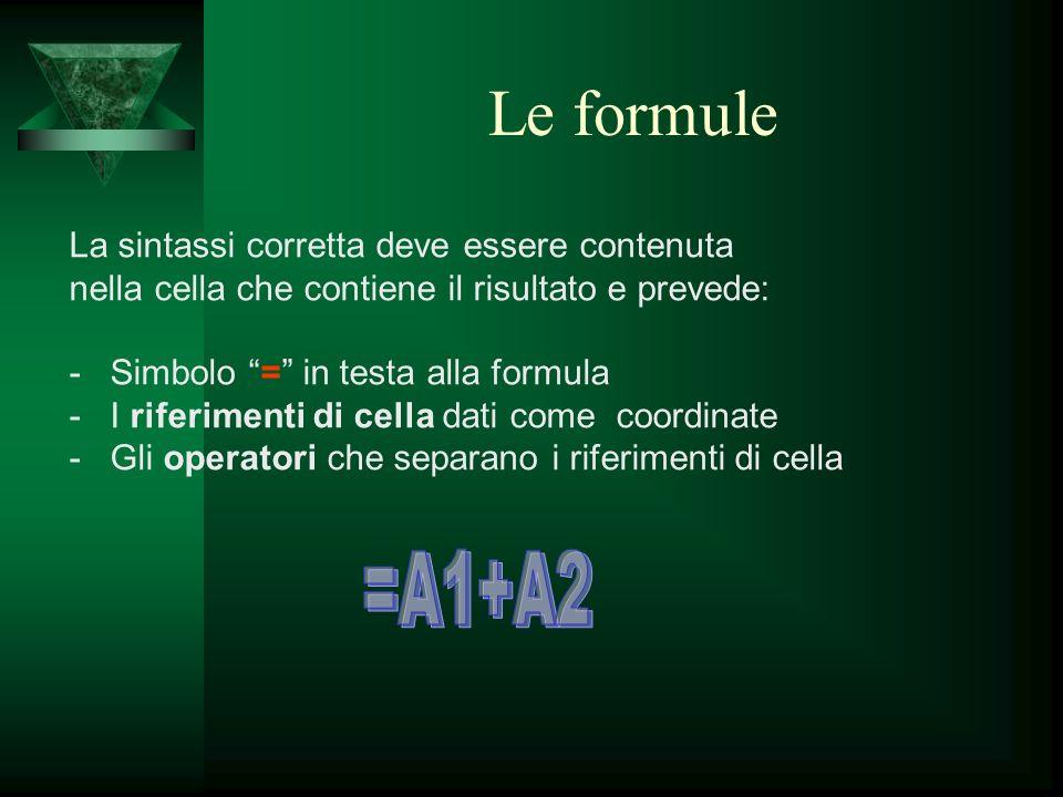 Le formule La sintassi corretta deve essere contenuta nella cella che contiene il risultato e prevede: - Simbolo = in testa alla formula - I riferimen