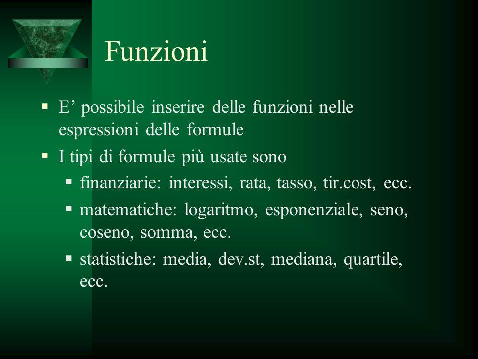 Funzioni E possibile inserire delle funzioni nelle espressioni delle formule I tipi di formule più usate sono finanziarie: interessi, rata, tasso, tir