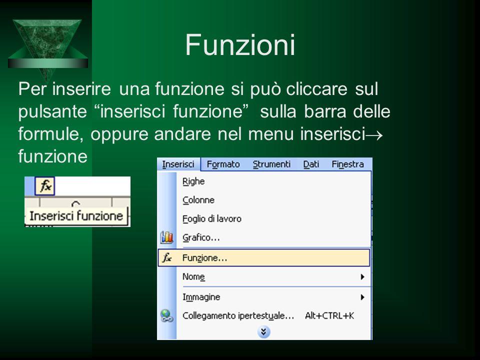 Funzioni Per inserire una funzione si può cliccare sul pulsante inserisci funzione sulla barra delle formule, oppure andare nel menu inserisci funzion