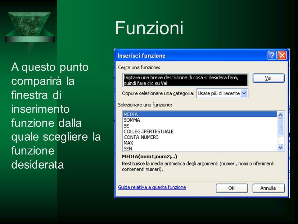 Funzioni A questo punto comparirà la finestra di inserimento funzione dalla quale scegliere la funzione desiderata