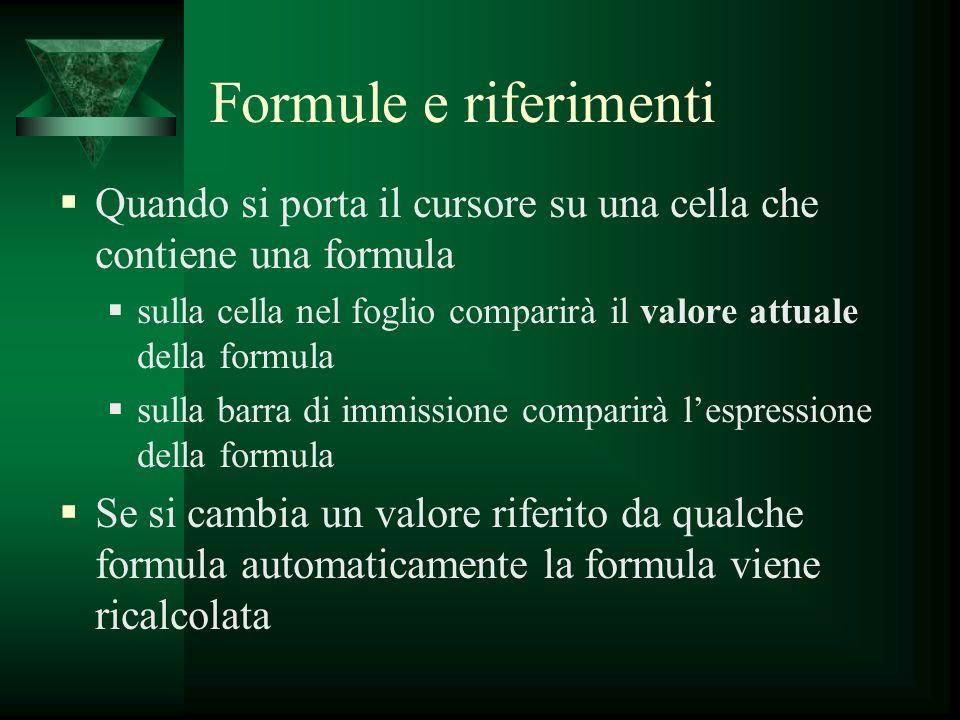 Formule e riferimenti Quando si porta il cursore su una cella che contiene una formula sulla cella nel foglio comparirà il valore attuale della formul
