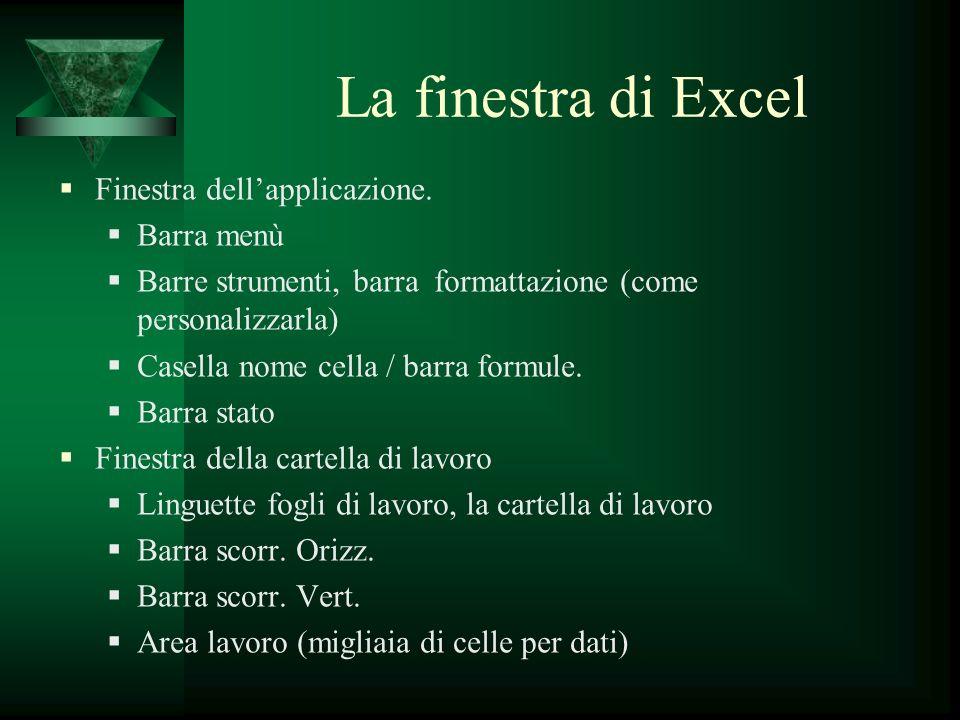 La finestra di Excel Finestra dellapplicazione. Barra menù Barre strumenti, barra formattazione (come personalizzarla) Casella nome cella / barra form